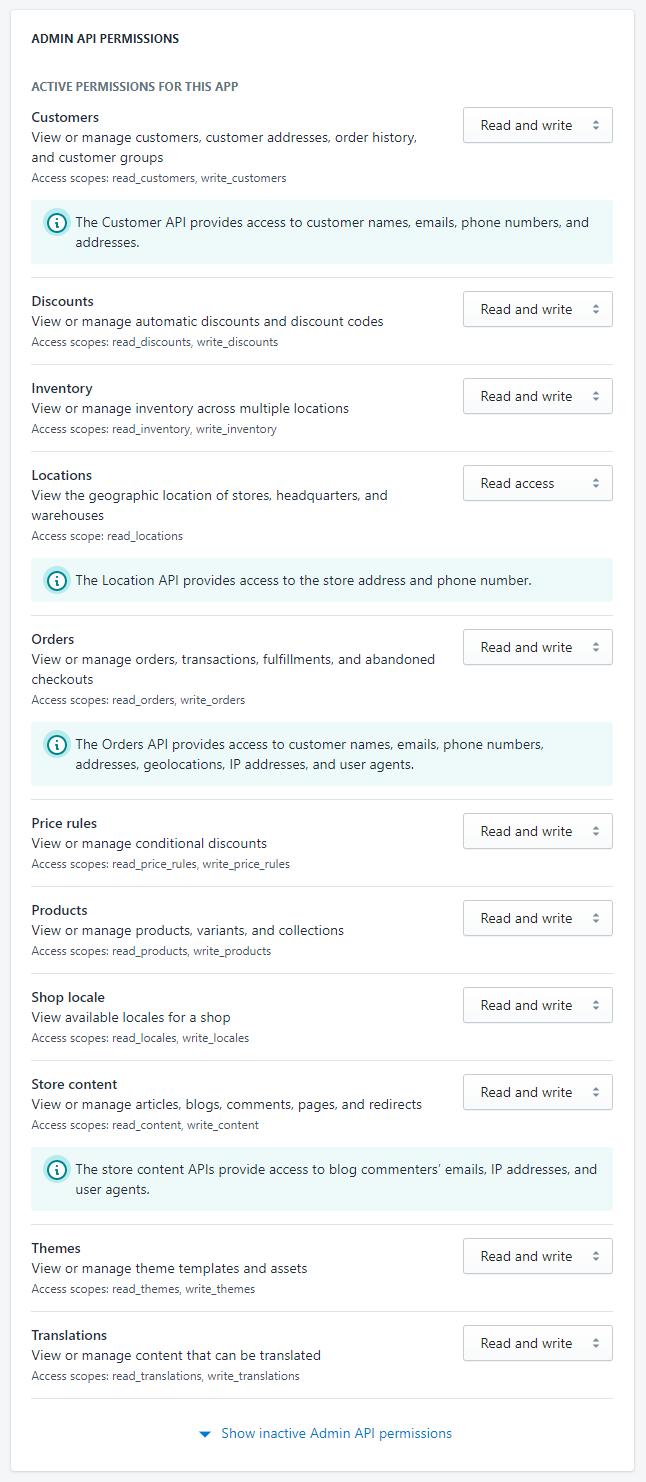 Shopify API Permissions