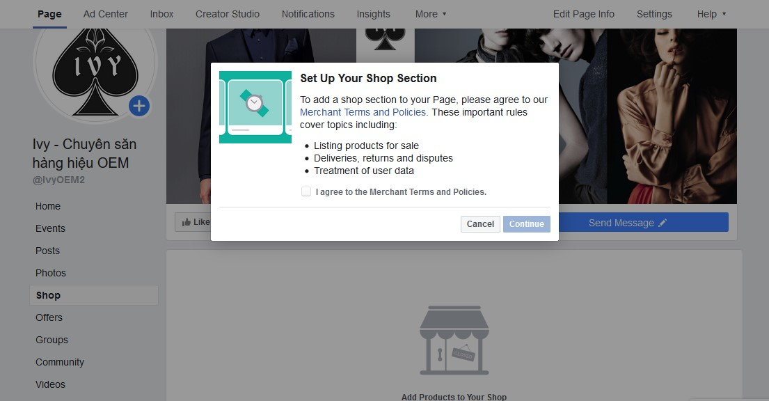 Open Facebook Shop