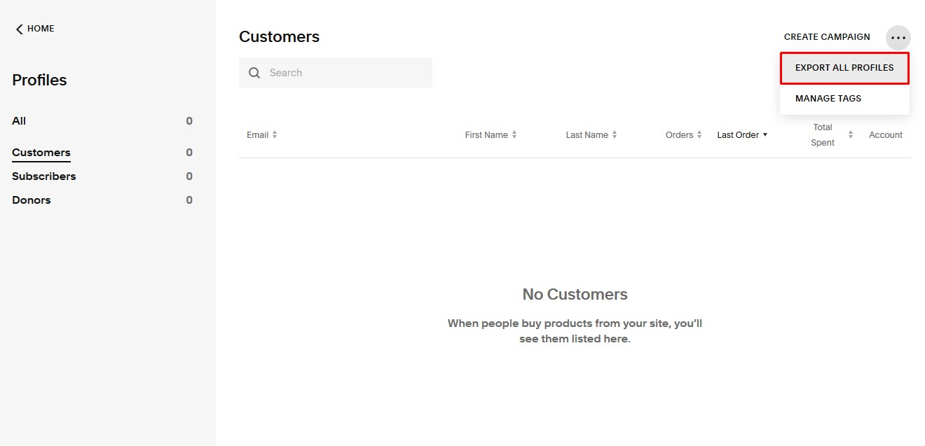 Squarespace Export Customers